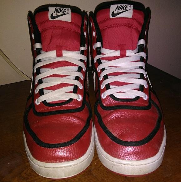 Red Nike Swoosh High Tops   Poshmark